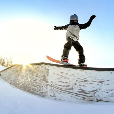 Snowboarding at Andes Tower Hills
